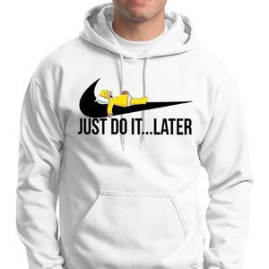 Bart Simpson Just do it later White Hoodie-Unisex